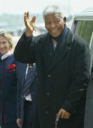 El presidente sudafricano  Nelson Mandela