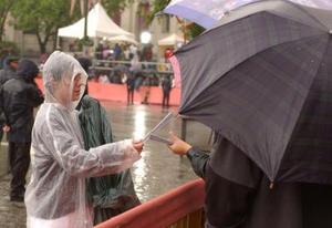En medio de una pertinaz lluvia, que a lo largo del trayecto por el centro madrileño fue disminuyendo, una pareja sonriente en todo momento saludó a quienes durante horas se ubicaron detrás de las vallas de seguridad para verlos.