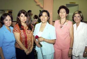 <u><b> 23 de mayo </u> </b><p> Yolanda Chávez, María Luisa Morales, gloria Vargas, Mayela Alvarado y Romelia Vélez.