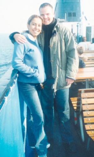 Rocío aguilar y Thomas Boolbuck captados en el ferri rumbo a Dinamarca.