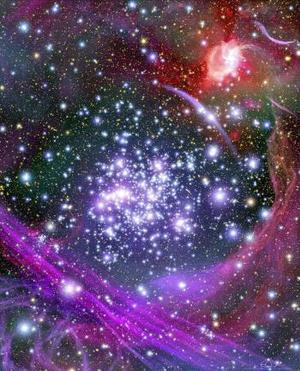 Interpretación artística que muestra cómo el macizo de estrellas 'arches' aparece del interior del eje de nuestra Vía Láctea. <p> A pesar de estar oculto a nuestra visión directa, este grupo masivo de estrellas se encuentra a 25 mil años luz y es la reunión de estrellas jóvenes más densa de nuestra galaxia.  <p> Esta ilustración se basa en observaciones infrarojas hechas por el telescopio espacial Hubble que atravesó el núcleo polvoriento de nuestra galaxia y consiguió imagenes del macizo de apróximadamente 2 mil  estrellas. <p> Algunas de las estrellas azules más brillantes de la ilustración están entre las más enormes que los astrónomos han encontrado a través del hubble, con un peso hasta 130 veces superior al Sol. <p> El objeto rojo brillante en la esquina superior derecha es el centro de nuestra galaxia, que se encuentra a 100 años luz del macizo arches. <p> EFE