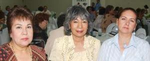 Gaby Alcázar de Covarrubias, Julí Martell de Solís y esther Ramírez de Gómez.