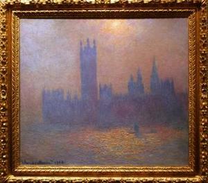 Monet está presente con su Londres, parlamento. Efecto de sol en la niebla, obra realizada para la exposición que tuvo lugar en 1904 en Londres titulada El Támesis en París.