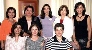 Nena de Fernández, Pilar Moncholi, Martha Saldaña, Mónica Saldaña, Angélica espinoza, Cecilia González y Vivi Sesma.