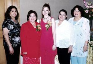 Cecilia Peña Castillo, Lidia Peña de Cervantes, Lourdes Peña Castillo y Rosa Velia Peña de Muñoz acompañaron a Lidia Cervantes Peña en su despedida de soltera