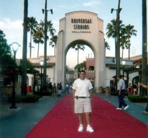 Jorge Sánchez, de paseo por los Studios Universal en Hollywood, California.