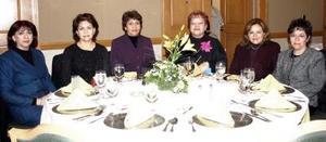 Ema Sánchez, Virginia Borroel, Evangengelina Juárez, Alma Ortiz, Claudia Meléndez y Austraberta Chávez.