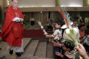 Durante la misa, los feligreses se amontonaron al tiempo que levantaban sus ramos, para recibir la bendición del sacerdote, que los rociaba con agua bendita.