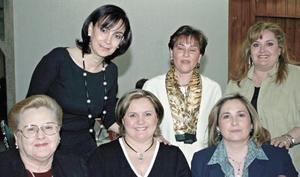 Martita de Zuno, Güera de Hamdan, Crisanta de Roel, Margara de Díaz, Minita de Nahle y Norma de Domínguez