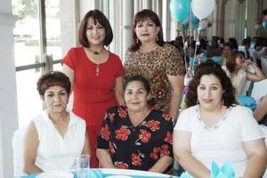 Juanita Ortiz, María Teresa de Marín, Gaby de García, Rocío Mota Barragán y Maty Cerda Cigarroa