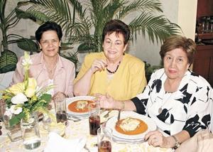 Mary Cruz de Lechuga, Nora L. de González y Celia P. de Saracho