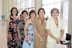 Margarita Aguirre, Amparo Aguirre, Patricia Garza, María Elena Dávila y Gloria Arredondo.