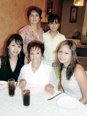 Coco Hernández de Martínez celebró su cumpleaños recientemente, con un ameno convivio acompañada por Enevy Hernández, Socorro Retana, Karla Ceniceros y Astrid Martínez.