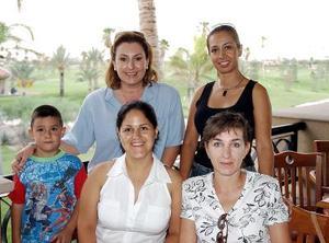 Alma de Arzate, Samia de Salazar, Lalo Pereyra, Diana de Govela y otra amiga.