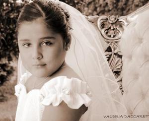 Miriam Yazmín Nájera Yassín el día de su Primera Comunión; es hija de Gerardo Nájera Adame y Alicia Yassín Calderón.