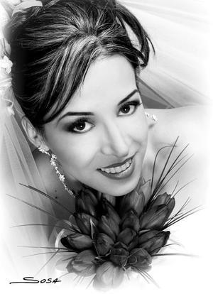 Lic. Ileana Galaviz Calderón el día de su enlace matrimonial con el Lic. Omar Alejandro Muruato Sánchez.  <p> <i>Estudio fotográfico:Sosa</i>