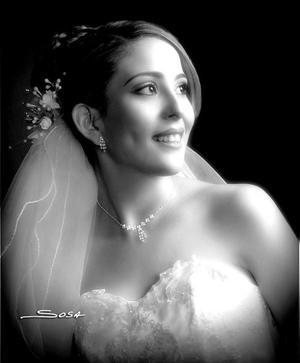 Srita. Karla Viviana Díaz Muñoz, el día de su enlace matrimonial con el Lic. Miguel Ángel Olague Rodríguez   <p> <i>Estudio fotográfico:Sosa</i>