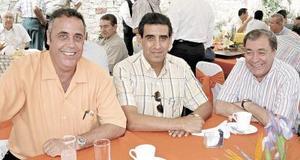 Santiago Gómez Martín, Felipe Cedillo Vela y Alfonso Elías Cardona.