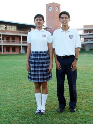 Alma Angélica Juárez Rodríguez y Espartaco Cuevas, alumnos del Cervantes.