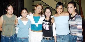 Sandra García, Michelle Lucio, Miriam garcía, Anaís Sánchez, Gaby Noyola y Alejandra Ruvalcaba.
