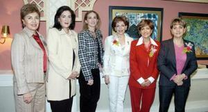 Lucía Vargas, Lourdes de Murra, Lizy Dingler, María Teresa de Cantú, Alicia de Cárdenas y Rocío de Juan Marcos.