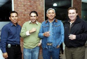 Juan Pablo Estrada, Fernando Jacamán Zarzar, Juan Pablo Estrada Gloria y Francisco Calderón, captados en pasado acontecimiento