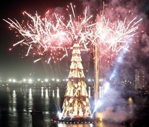 Fuegos artificiales durante la inaguración del árbol de navidad más grande del mundo que se ubica sobre el lago Rodrigo de Freitas en Río de Janeiro, Brasil.