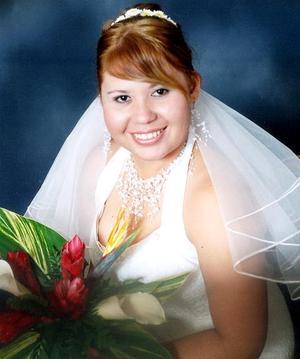 Srita. Ana Gabriela Navarro Oviedo, el día de su enlace matrimonial con el Sr. Omar Riced Barrón Salazar.