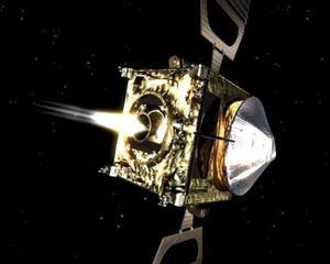 Un dibujo de la nave espacial Venus Express llevando a cabo una prueba del motor principal de eyección la noche del 16 al 17 de febrero del 2006, antes de entrar en la órbita alrededor de Venus.
