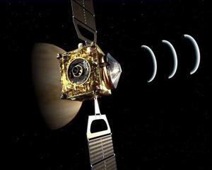 Gráfico realizado por ordenador de la nave europea Venus Express que,el martes 11 de abril, entró con éxito en la órbita del planeta más cercano a la tierra con el fin estudiar su enigmática atmósfera, sobre todo el efecto invernadero.
