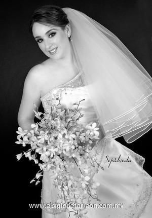Srita. Brenda María Estrello Hernández el día de su matrimonio con el Sr. Belarmino Rimada Sánchez.  <p>  <i> Estudio: Sepúlveda</i>