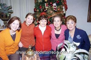 23122006   María Eugenia Dávila, Cristina Cepeda, María Estela de Ortiz, Guille Sifuentes y Myrna  Lozano de Gáme.