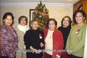 31122006 Elba de Sifuentes, Conchita de Maeda, Edy Durán, Cuquita Wong, Graciela Wong y Beatriz de Álvarez.