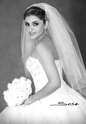 Lic. Janeth Jabuba Soto Ayoub el día de su enlace matrimonial con el Ing. Manuel Medina Rodríguez.  <p> <i>Estudio: Sosa</i>