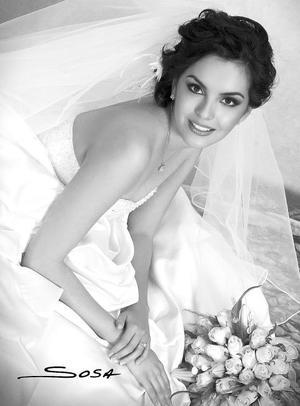 Srita. Ana Liliana Duarte Aguayo el día de su boda con el Sr. Miguel Negrete García.  <p> <i>Estudio: Sosa</i>