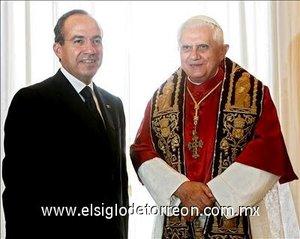 Benedicto XVI recibió al presidente de México,  Felipe Calderón Hinojosa,  durante la visita de trabajo que realiza el mandatario mexicano,  en su segunda gira a Europa.