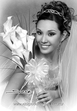 I.S.C. Silvia Georgina Denisse Loera Vázquez, el día de su enlace nupcial con el M.C. Lane Burton Dayley  <p> <i>Sosa</i>
