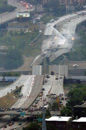 El puente de una autopista interestatal de Minneapolis se rompió en trozos enormes y cayó al río Mississippi a la hora de mayor tráfico.