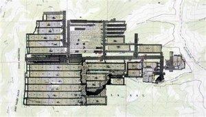El mapa muestra los pisos y las instalaciones de la mina Crandall Canyon, ubicada en el condado Emery,  Huntington, Utah.