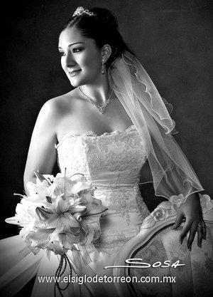 Srita. Cynthia Patricia Huerta Zúñiga, el día de su enlace nupcial con el Sr. Luis Gerardo Aguirre López. <p> <i>Studio Sosa.</i>