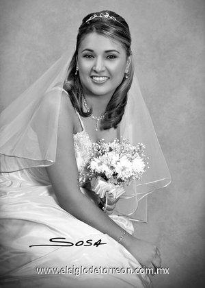 Srita. Susana Sierra Montelongo, el día de su boda con el Sr. Sergio Antonio Delgado de los Santos. <p> <i>Studio Sosa.</i>