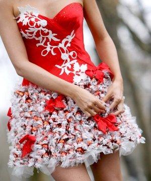 En Londres se presentó el primer vestido hecho con bombones de chocolate de la marca chocolatera Lindt.  El modelo, diseñado y creado por Lindka Cierach, una adicta confesa al chocolate, es lo último en vestidos de fiesta para navidad y año nuevo para todas aquellas amantes del chocolate.
