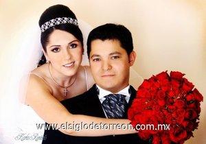 L.R.H. Brenda Rentería Rivas el día de su enlace nupcial con el Ing. Alberto Ramírez Garza. <p> <i>Estudio Karla Rentería.</i>