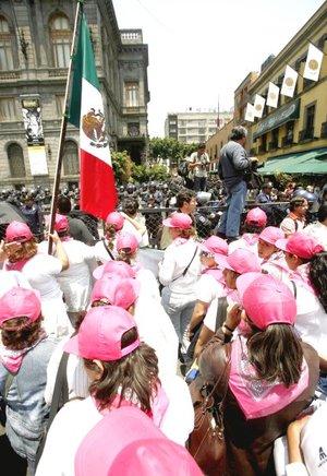 Las manifestantes, de todas las edades, llegaron en pocos minutos al recinto legislativo vestidas de blanco, con pamelas, gorras y sombrillas para protegerse del sol, y pancartas reivindicativas.