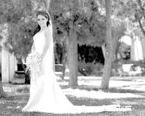 Srita. Sofía Gómez Martínez el día que unió su vida en matrimonio a la del Sr. Diego de la Peña Gómez.  <p> <i>Estudio Carlos Maqueda</i>
