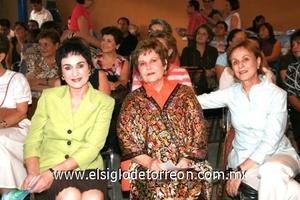 Laura Muñoz Franco, Leonor Zertuche de González y Beatriz Muñoz de Tumoine.