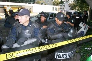 Elementos de la Policía Federal y del Ejército Mexicano acordonan el lugar donde cayó el avión en el que falleció el secretario de Gobernación, Juan Camilo Mouriño.