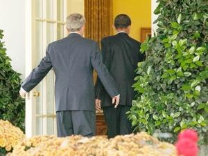 El encuntro entre Bush y Obama se prolongó por espacio de dos horas.