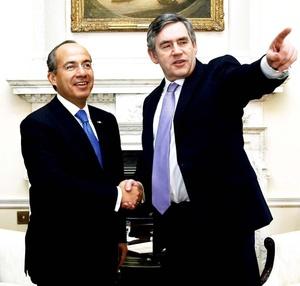 El primer ministro británico Gordon Brown recibió al presidente mexicano Felipe Calderón en Downing Street, Londres, Reino Unido.