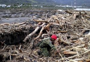 'Morakot', que significa 'esmeralda' en tailandés, arrojó hasta dos metros (80 pulgadas) de lluvia durante el fin de semana en Taiwán, la peor inundación en medio siglo.